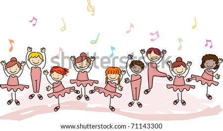 Illustration of Children Practicing Ballet
