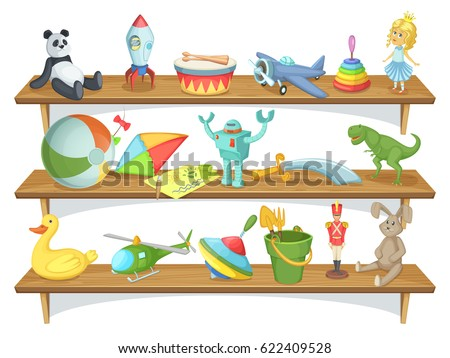 Shutterstock Illustration of childrens store with funny cartoon toys on shelves. Vector set of toys. Wooden shelf with toys pyramid and rocket, dinosaur and rabbit