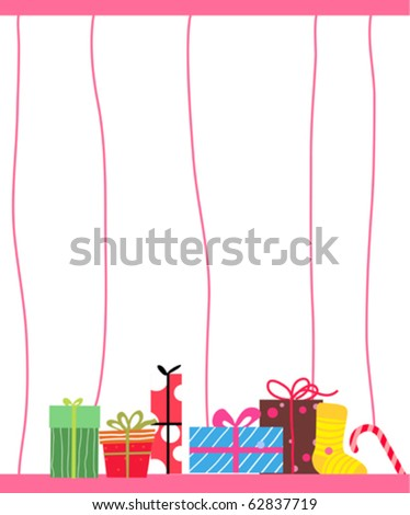 Illustration of christmas ball ,sock and gift box - stock vector