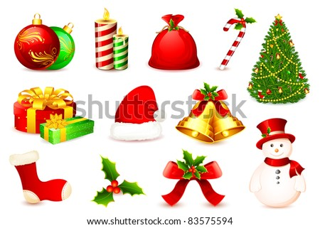 illustration of christmas ball,tree,bell,sant a cap and snow man - stock vector