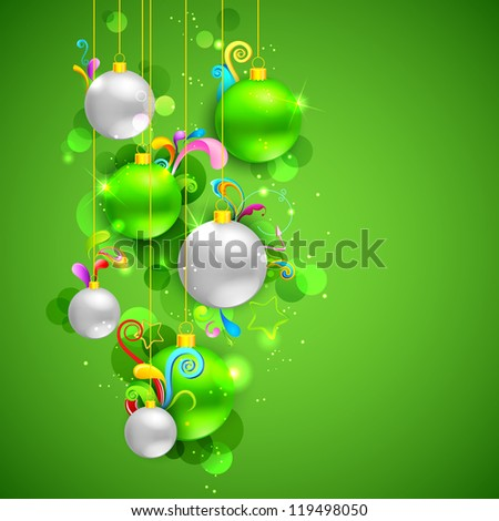 illustration of Christmas bauble on abstract background