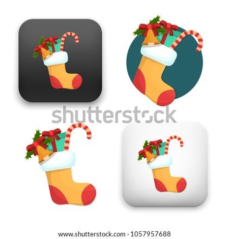 Stock Photo Illustration of Christmas card with christmas stocking icon