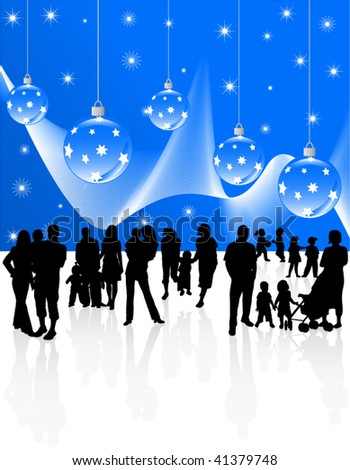 Illustration of Christmas decoration and families