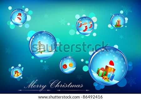 illustration of christmas decoration element in water bubble
