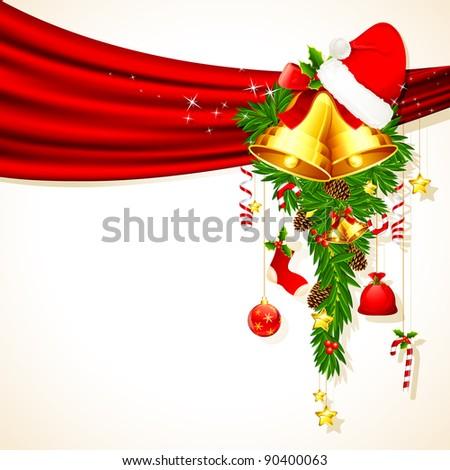 illustration of christmas decoration hanging from drape
