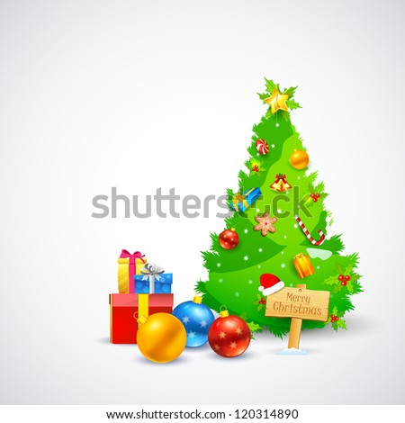 illustration of Christmas gift and decorated pine tree