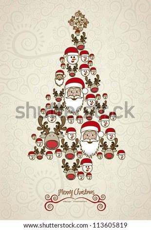 Illustration of christmas tree, made with christmas characters, vector illustration