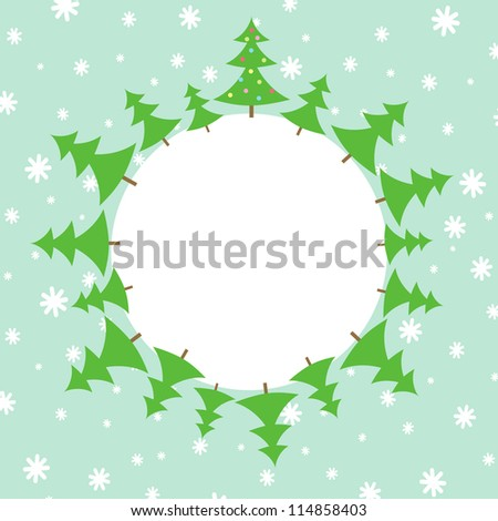 Illustration of Christmas trees in the snow