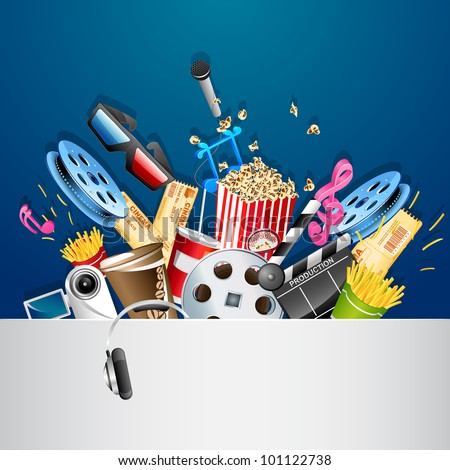 illustration of cinema background with different movie object