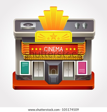 Illustration Of Cinema Theater Or Movie House. - 105174509 ...