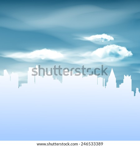 illustration of city and blue