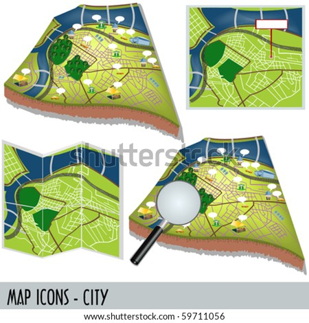 Illustration of city map icons isolated on white background.
