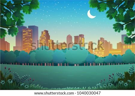 illustration of city park at