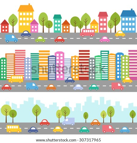 illustration of city with cars
