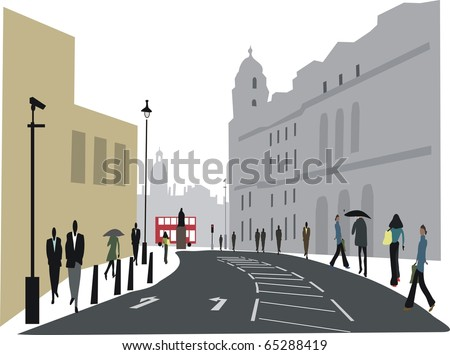 Illustration of city workers in Whitehall, London England.