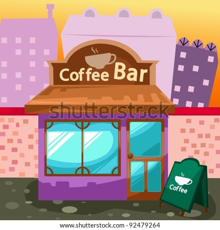 illustration of cityscape coffee bar
