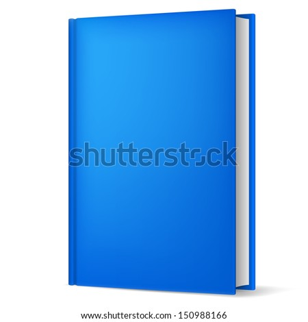 Illustration of classic blue book in front vertical view isolated on white background.