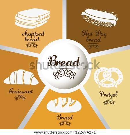 Illustration of  classic bread, croissant, chopped bread, hot dog bread, pretzel. bakery icon, vector illustration