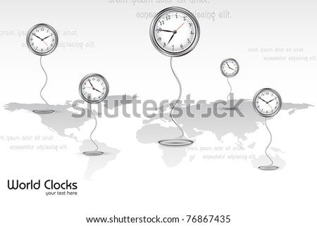 illustration of clock showing different time standing on world map