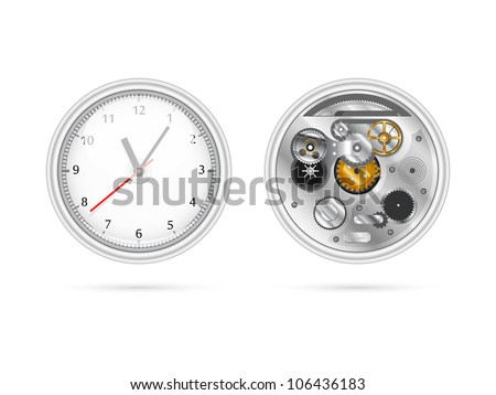 Illustration of clock with two sides view