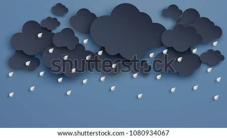 Illustration of Cloud and rain on dark background. heavy rain, rainy season, paper cut and craft style. vector, illustration.
