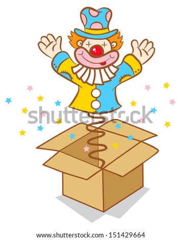 Illustration of clown jumps out of the box - stock vector