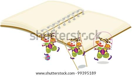Illustration of clowns on white - stock vector