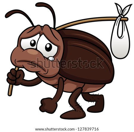 Shutterstock illustration of cockroach cartoon get out