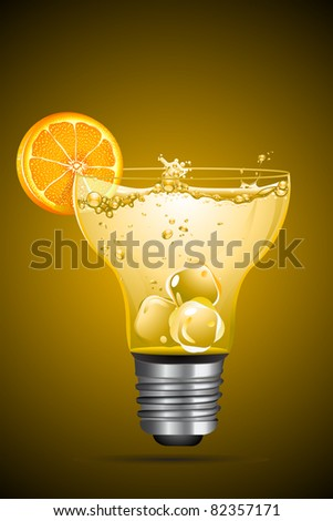 illustration of cocktail with orange slice in bulb shape glass