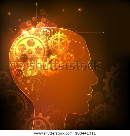 illustration of cog wheels in human mind showing human intelligence