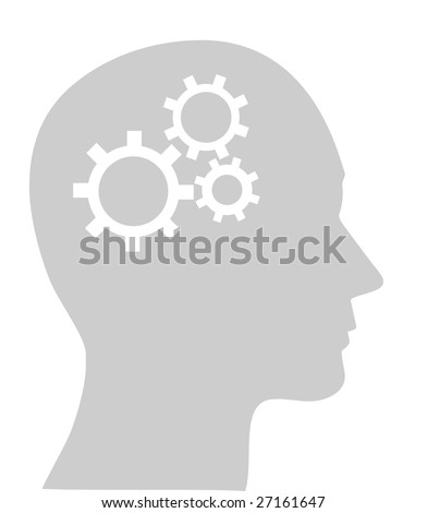Illustration of cogs or gears in human head, vector - stock vector