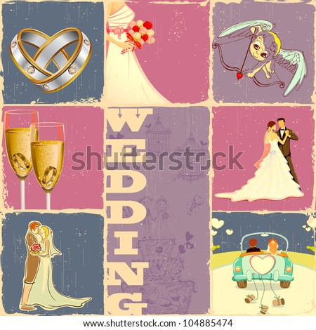 illustration of collage of different concept of wedding