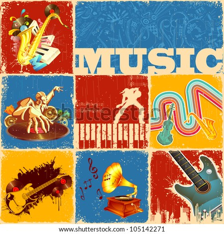 illustration of collage of different music concept