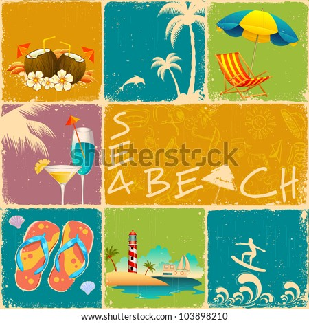 illustration of collage of different object of sea beach