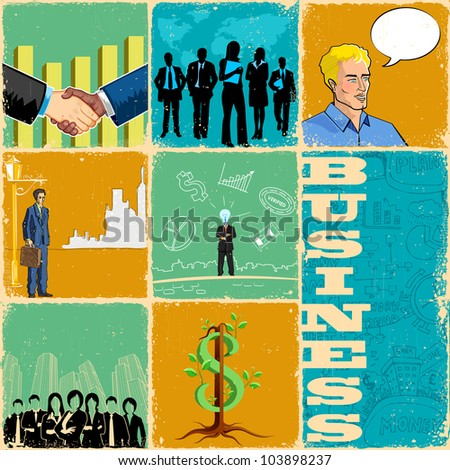 illustration of collage with different business concept