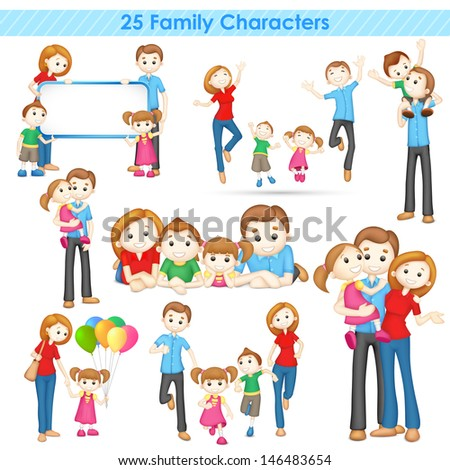 illustration of collection of 3d family people