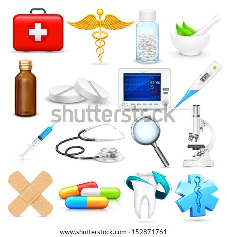 illustration of collection of detailed medical object stock photo