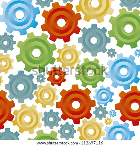 illustration of color gears on white background, sequence, order, vector illustration