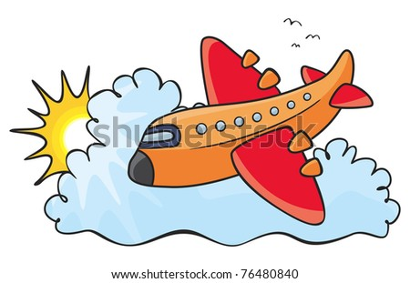 Illustration of colorful aeroplane over clouds - stock vector