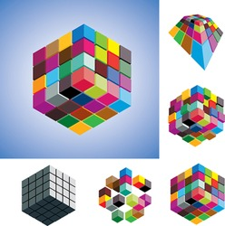 Illustration of colorful and mono-chromatic 3d cubes arranged in various ways showing them in different perspective and view angles.