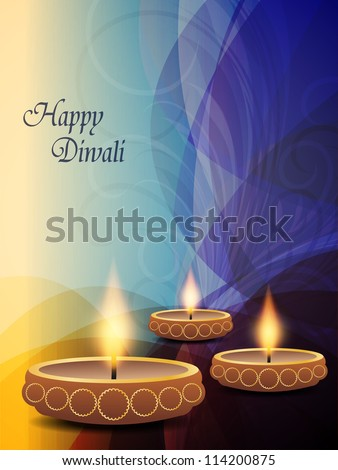 illustration of colorful and religious background for diwali festival with beautiful lamps.