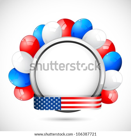 illustration of colorful balloon with American flag color ribbon