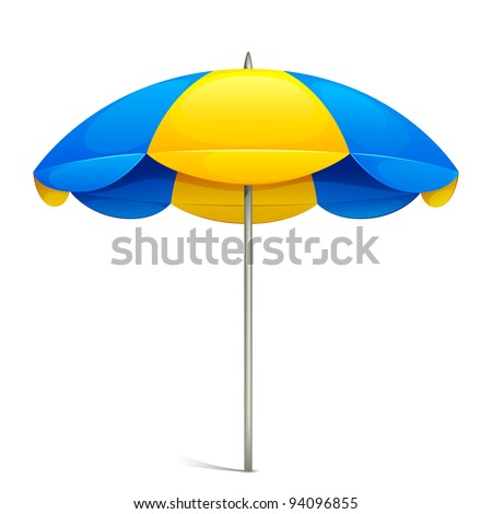 illustration of colorful beach umbrella on white background