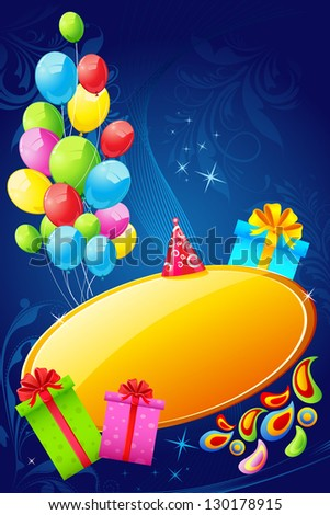 illustration of colorful birthday card with balloons and gift box