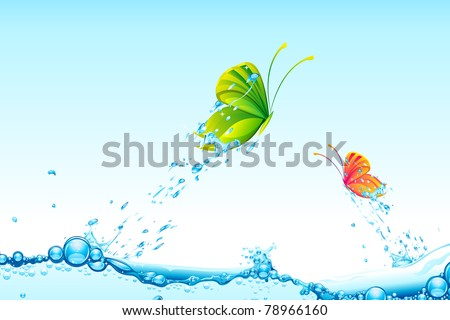 illustration of colorful butterflies flying from splash of water