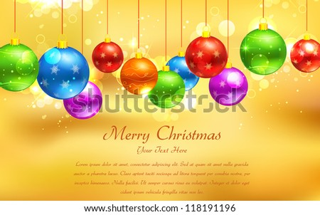 illustration of colorful Christmas bauble hanging on abstract background