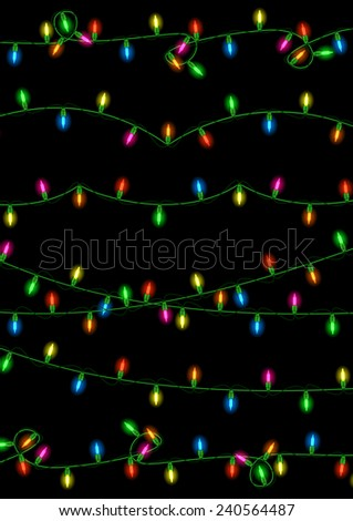illustration of colorful christmas lights collection on black background