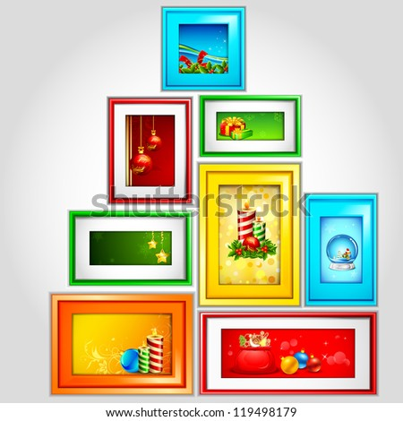 illustration of colorful Christmas photo frame with candle