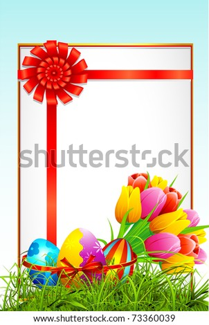 illustration of colorful decorated easter eggs and bouquet of tulip with card