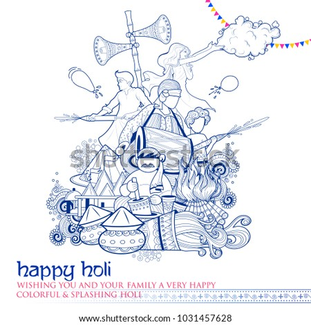 illustration of colorful Doodle Happy Holi Background for Festival of Colors celebration